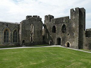 Caerphilly Castle - Great Hall (l), private apartments (c), Inner West Gatehouse (r)