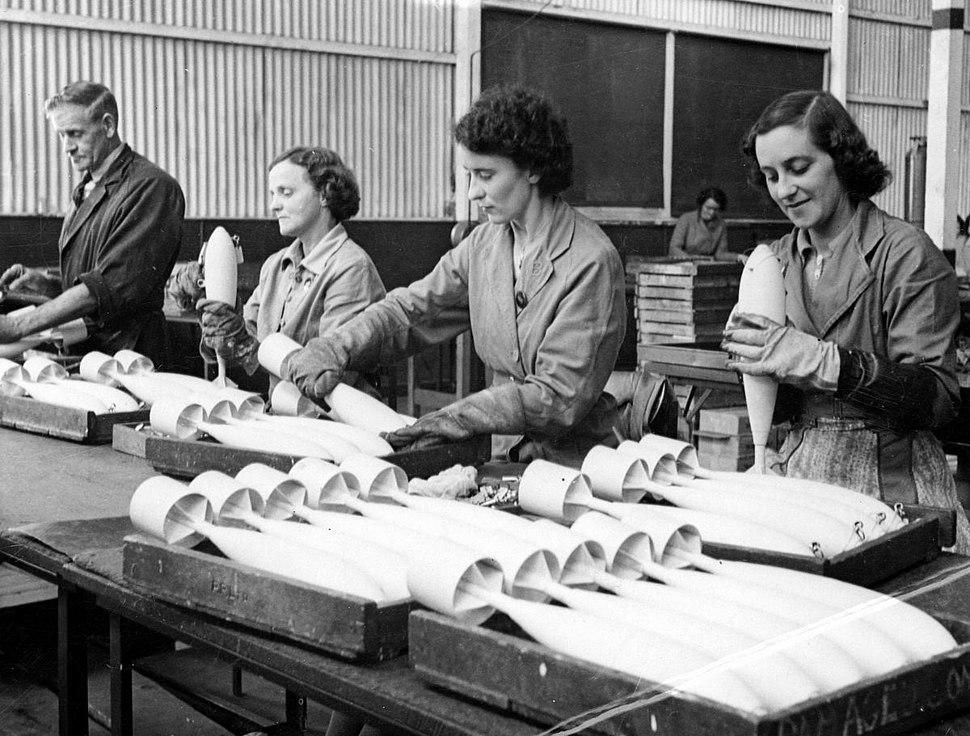 Inspecting RAAF practice bombs