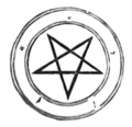 Another pentagram from Agrippa's book. This one has the Pythagorean letters inscribed around the circle.