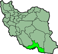 Map of Iran with होर्मोज़्गान highlighted.