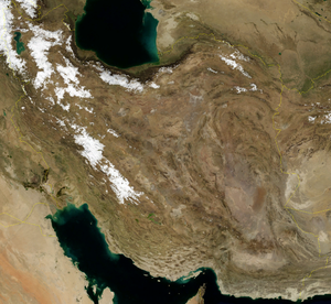 Satellite image of Iran in January 2004.