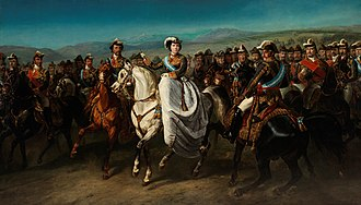 Grandee - Equestrian portrait of Isabella II, her husband Francis, King Consort of Spain (left) and Infante Francisco de Paula (right) with the most important Spanish statesmen and army officers of the time, many of whom were Grandees of Spain, by Charles Porion, 1862