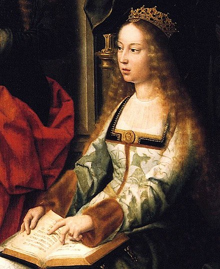 Isabella I of Castile, depicted in the painting Virgen de la mosca at The Collegiate church of Santa Maria la Mayor Isabel la Catolica-2.jpg