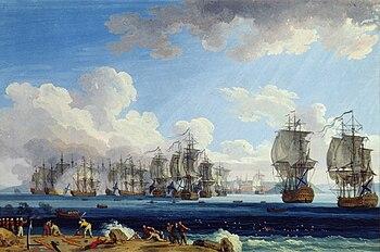 Jacob Philipp Hackert - The Battle of Cesme on July 5, 1770