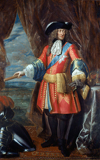 James portrayed c. 1685 in his role as head of the army, wearing a general officer's state coat James II (1685).jpg