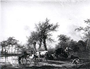 Een Hollands landschap, links rundvee bij een water, rechts een boerin, bezig met melken