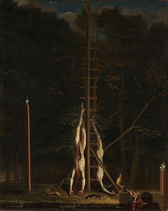 Rampjaar - The bodies of the De Witt brothers, by Jan de Baen.