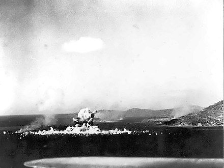 Japanese ammunition ship Aikoku Maru exploding after a torpedo hit, 17 February 1944. Japanese ammunition ship Aikoku Maru in Truk Harbor explodes.jpg