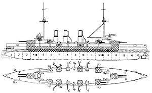 Japanese cruiser Azuma - Left elevation and plan of Azuma from Jane's Fighting Ships 1904