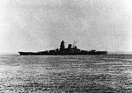 Japanese battleship Musashi leaving Brunei, Borneo, in 1944 (NH 63473).jpg