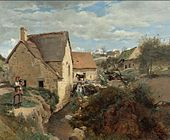 Jean-Baptiste-Camille Corot - Cottages and a Mill on the Banks of a Stream.jpg
