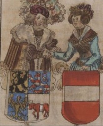 Constance of Austria, Margravine of Meissen - Margrave Henry and Constance, from the chronicles by George Spalatin, 16th century