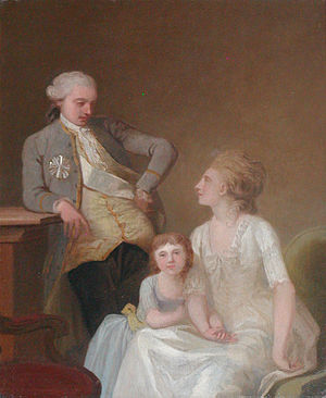 Johan Theodor Holmskjold - Johan Theodor Holmskiold with his family, painting by Jens Juel (1785)