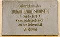 Johann Daniel Schöpflin, Tafel am Geburtshaus in Sulzburg.jpg