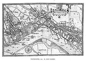 Tudor London -  John Norden's map of Westminster, 1593.