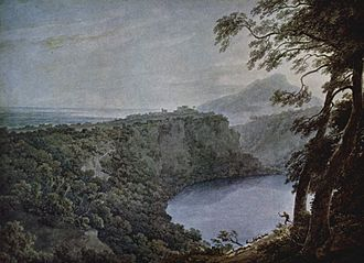 Diana Nemorensis - An 18th-century depiction of Lake Nemi as painted by John Robert Cozens