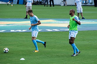 John Stones - Stones and Vincent Kompany warming up on Manchester City's US tour, July 2017