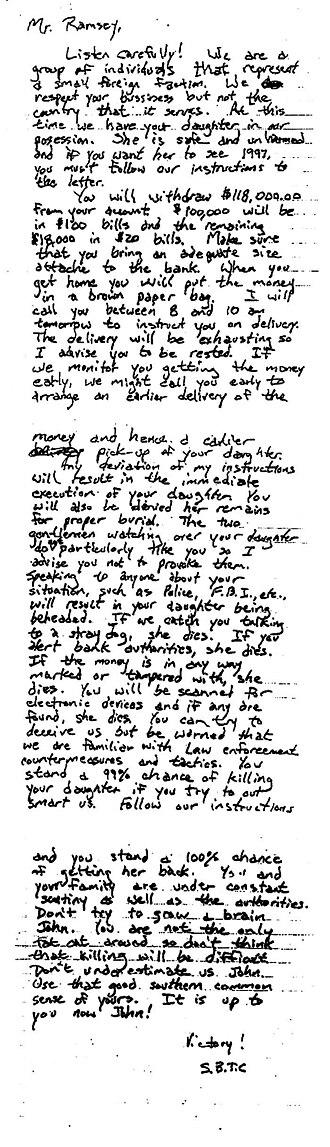 Death of JonBenét Ramsey - The ransom note