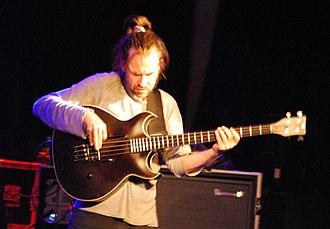 Jonas Hellborg - Hellborg with his signature Warwick bass model, Innsbruck 2011