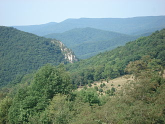 U.S. Route 33 in West Virginia - US 33 passes through Judy Gap (center), after descending the Allegheny Front (background; highest point is Spruce Knob)