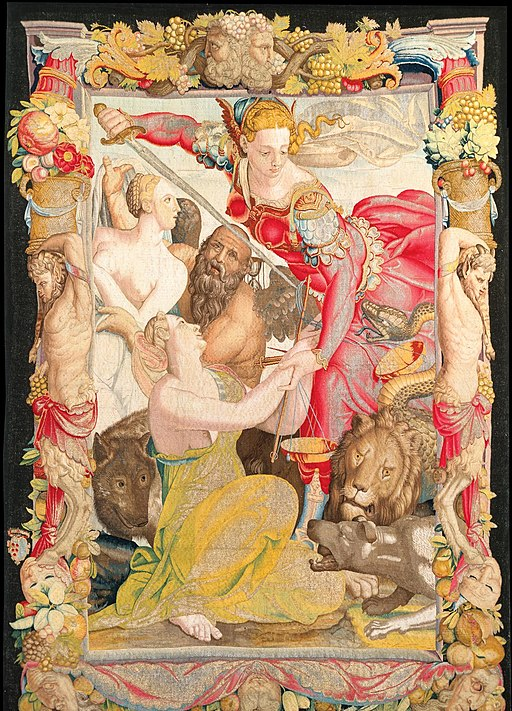 Justice Liberating Innocence, based on a drawing by Bronzino and woven by Jan Rost