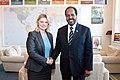 Justine Greening and President Hassan Sheikh Mohamud of Somalia (8443510563).jpg