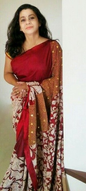 Kalamkari - Kalamkari sari with Aari work from Andhra Pradeesh.