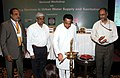 Kamal Nath lighting the lamp to inaugurate the National Workshop on Improving Services in Urban Water Supply and Sanitation, in New Delhi. The Secretary, Ministry of Urban Development, Dr. Sudhir Krishna and the Secretary.jpg