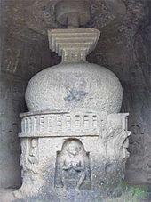 A white Buddhist stupa.
