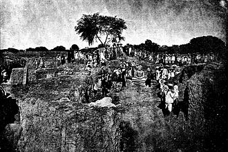 Mound - General view of the excavations in January 1889 at Kankali Tila, Mathura