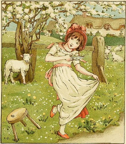 A Kate Greenaway illustration of 1900, showing a tuffet as a three-legged stool Kate Greenaway Little Miss Muffet.jpg