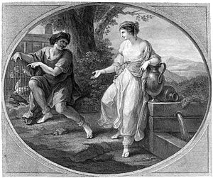 Rhodopis (hetaera) - The beautiful Rhodope, in love with Aesop; engraving by Bartolozzi, 1782, after  Kauffman's original