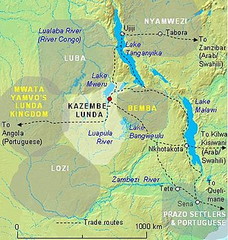 Luba people - The Luba Empire (up left) in relationship to others and major trade routes, in the 19th-century.