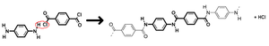 Polyamide - The reaction of 1,4-phenyl-diamine (para-phenylenediamine) and terephthaloyl chloride to produce Aramid