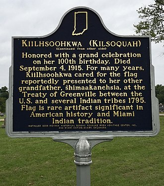 Kiilhsoohkwa - Historic sign (reverse) at Glenwood Cemetery in Roanoke, IN commemorating and memorializing Kiilhsoohkwa.