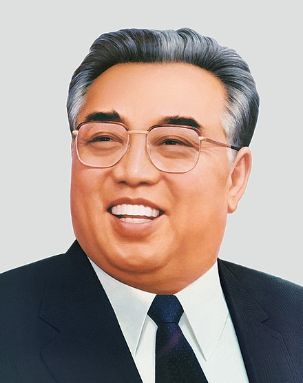 An official portrait of Kim Il-sung, issued after his death. Kim Il Sung Portrait-2.jpg