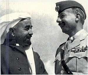 1948 Palestinian exodus from Lydda and Ramle - King Abdullah of Jordan (1882–1951) with John Bagot Glubb (1897–1986), the British commander of the Arab Legion