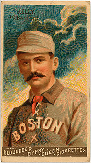 """An 1888 """"Godwin Champions"""" cigarette card of King Kelly, one of the earliest cards using chromolithography to create multi-colored images of players."""