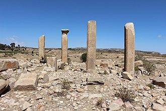 Qohaito - The columns of a ruined structure at Qohaito.