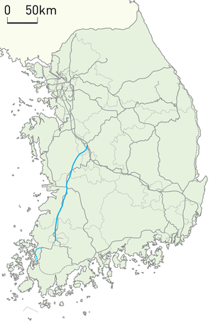 Honam high-speed railway - The Honam HSR (in teal)