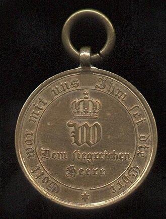 War Commemorative Medal of 1870/71 - Image: Kriegsdenkmünze 1870 1871, Kämpfer, vorn 2