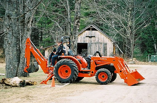 Kubota tractor with front loader and backhoe