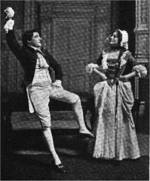 She Stoops to Conquer - 1905: Kyrle Bellew and Eleanor Robson in a scene from She Stoops to Conquer.