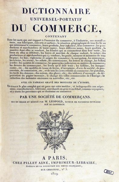 File l opold dictionnaire universel portatif du commerce for C du commerce