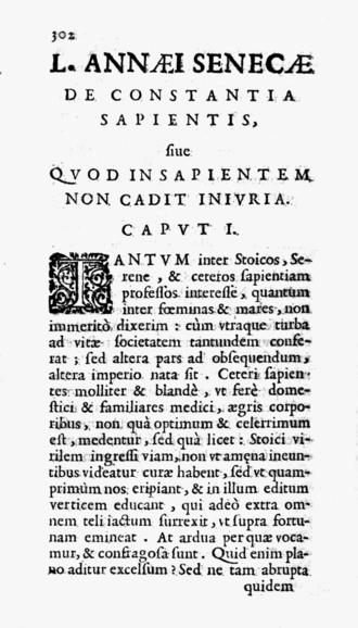 De Constantia Sapientis - From the 1643 edition, published by Francesco Baba