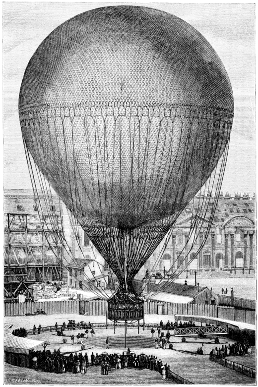 La Nature - 1878 - S2 - p217- Ballon Giffard- décollage.png