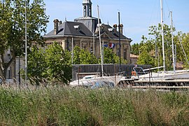 Pauillac City Hall and reed bed on the Gironde