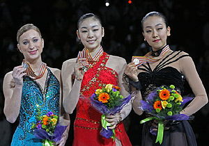 2009 Four Continents Figure Skating Championships - The ladies' podium. From left: Joannie Rochette (2nd), Kim Yuna (1st), Mao Asada (3rd).