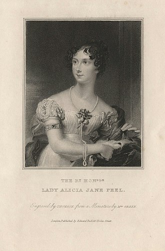 Jonathan Peel - Lady Alice Jane Peel by James Thomson (Thompson), after Mary Green (née Byrne), 1833