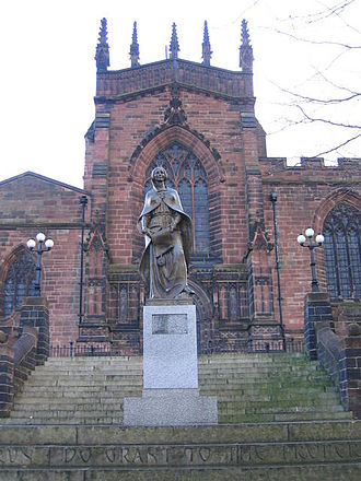 Wolverhampton - Statue of Lady Wulfrun on western side of St. Peter's Collegiate Church
